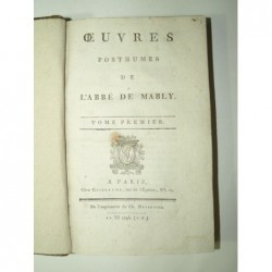 Abbé de MABLY : Oeuvres posthumes. Tomes 1 et 2.