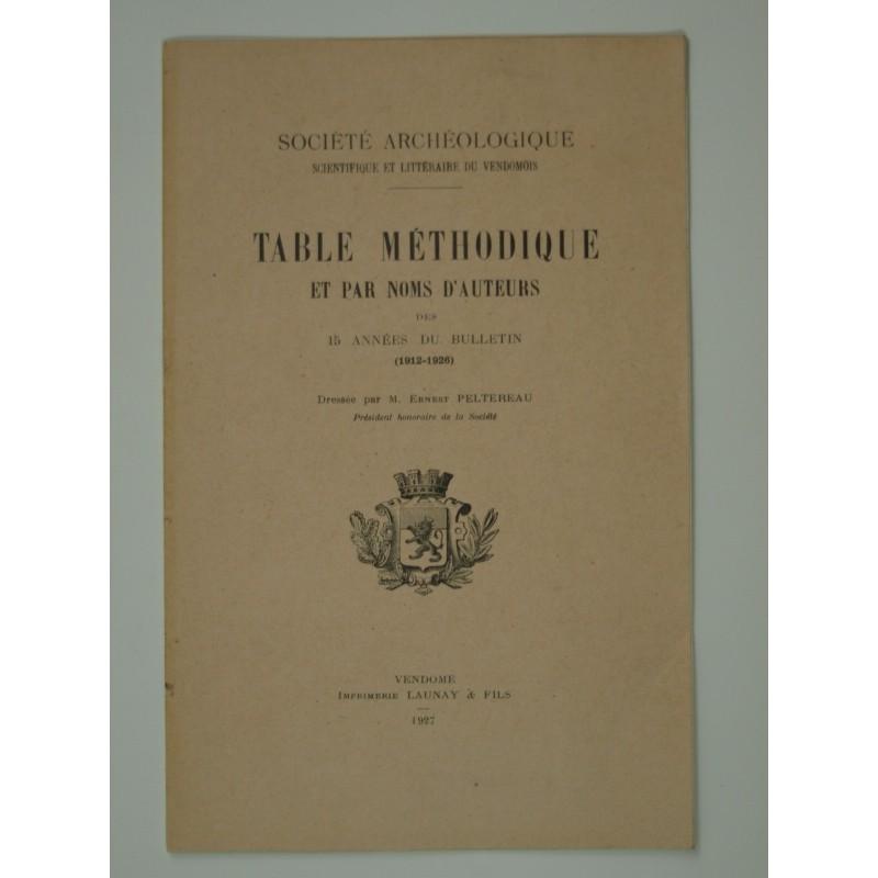 Peltereau Ernest : Société archéologique du Vendömois. Table méthodique et par noms d'auteurs des 15 années du bulletin